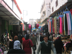 A typical bustling Palestinian street in H1