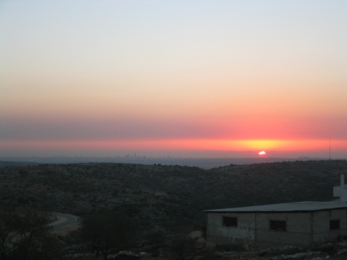 The view at sunset, all the way to Tel Aviv and the Mediterranean