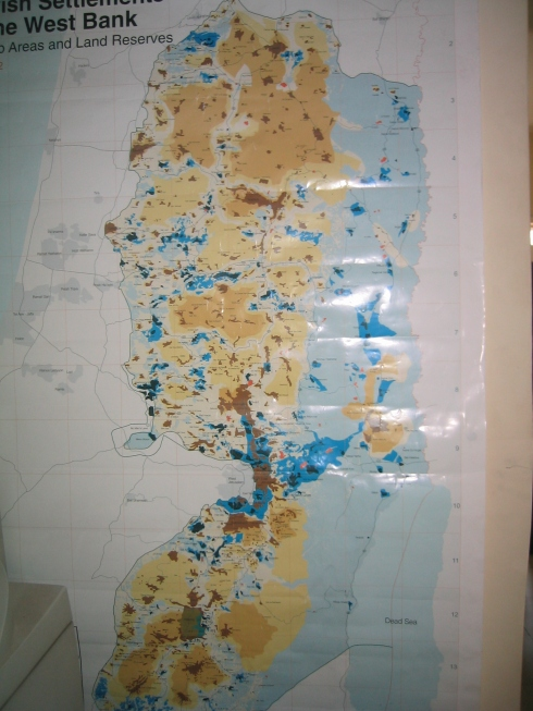A map of the West Bank with settlements as dark blue dots and Area C (where Israel has full civil and military control) shaded in light blue. There are so many more settlements now... :(