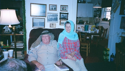 "This picture of my grandparents (sporting their gifts from my previous trip to the Middle East) was taped on my office wall, prompting at least one coworker to ask, ""Oh, are your grandparents Jordanian?"" :D"