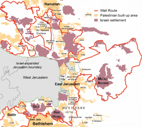 A map of the Wall in the Jerusalem / Ramallah / Bethlehem area. So much heartache, division, entrapment, and theft in one picture.