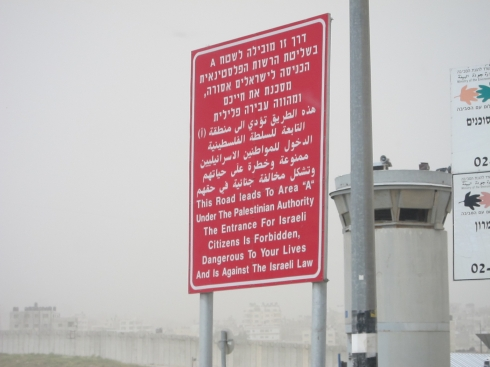 "The sign that greets civilians entering ""Area A,"" the 17% of the West Bank with nominal Palestinian civil and military control. The Israeli military can, of course, enter at will."